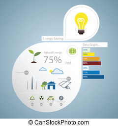 infographic of energy saving concept
