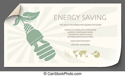 infographic of incandescent light bulb and energy saving light