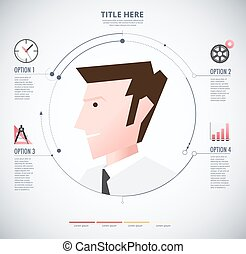 Infographic of man with icon. Gentleman diagram. vector illustration