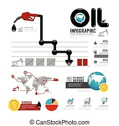 Infographic oil business of the world with icons