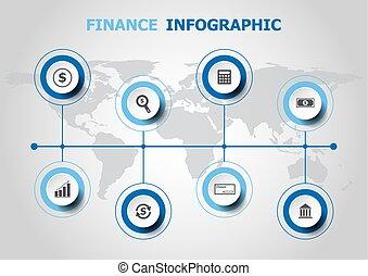infographic, ontwerp, financiën, iconen