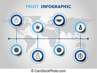 infographic, ontwerp, fruit, iconen