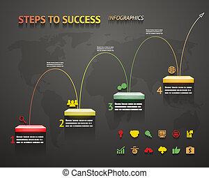 infographic, optie, trap, iconen, succes, illustratie, vector, stappen, richtingwijzer, mal