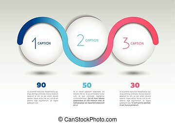 Infographic option banner with 3 steps. Color spheres, balls...