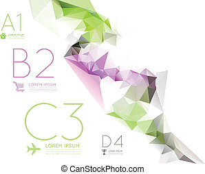 Infographic options with color polygonal background