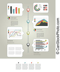 infographic, página, con, gráficos, y, te