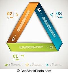 infographic, papel, triángulo, plantilla