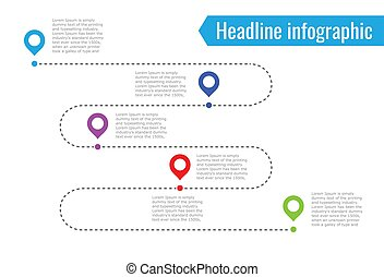 infographic path dotted line. 5 dots of different colors, blue, red, green. Vector illustration