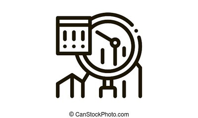Infographic Peak Research Icon Animation. black Sme Infographic, Magnifier Glass And Exclamation Marks In Frame animated icon on white background