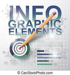 infographic, pen, moderne, schietdoel