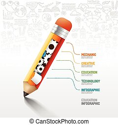 Infographic pencil with gear doodles line drawing idea. Vector illustration.education concept.can be used for layout, banner and web design.
