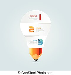 Infographic pencil with light bulb paper shape idea. Vector illustration. education concept. can be used for layout, banner and web design.