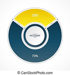 Infographic pie chart circle in thin line flat style. Share of 30 and 70 percent. Vector illustration