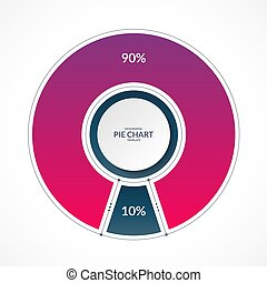 Infographic pie chart circle in thin line flat style. Share of 90 and 10 percent. Vector illustration