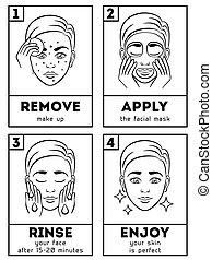 infographic, piel, vector, cuidado