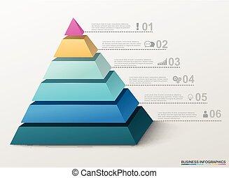 infographic, piramis, icons., ügy, számok