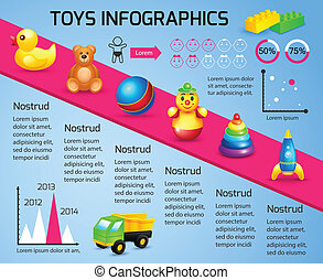 infographic, plantilla, juguetes
