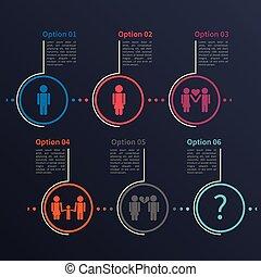 infographic, plantilla, relación