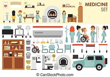 infographic, plat, éléments, autour de, docteur, grand, ...
