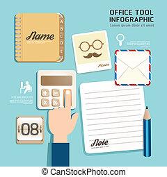 infographic, plat, concept, illustration., icônes bureau, outillage, vecteur, conception