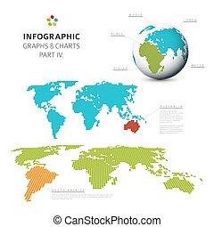 infographic, plat, ensemble, diagrammes, graphiques, vecteur, conception, 4