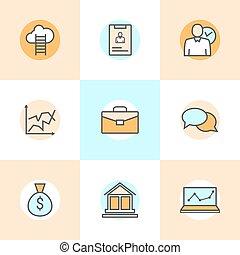 infographic, plat, ensemble, ressource, icones affaires, carrière, compagnie, gens, moderne, collection, vecteur, développement, humain, logo, ligne, gestion, concept., organisation, progress.