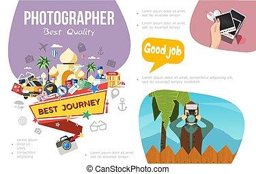 infographic, plat, fotografie, concept