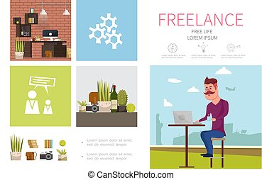 infographic, plat, freelance, concept