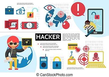 infographic, plat, hacher, concept