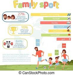 infographic, plat, lifestyle., fille, famille, sain, affiche, football., fils, children., leur, vecteur, parents, père, mère, actif, conception, sport, jouer