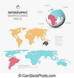 infographic, plat, set, diagrammen, grafieken, vector, ontwerp, 4