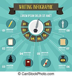 infographic, plat, stijl, schrijvende