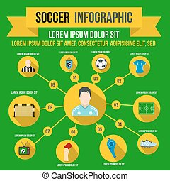 infographic, plat, style, football