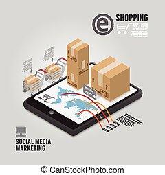 infographic, pojęcie, media, handel, ilustracja, wektor, projektować, szablon, towarzyski
