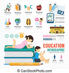 infographic, pojęcie, wektor, projektować, szablon, illustrat, wykształcenie
