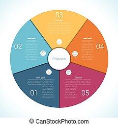 infographic, position, elemente, fünf, schablone