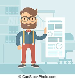 Infographic Presentation. - The man with a beard in...