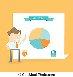 infographic, presentazione, parlare affari, uomo