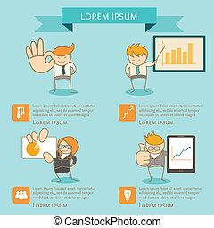 infographic, presentazione, uomo affari