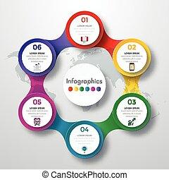 infographic, projektować, barwny