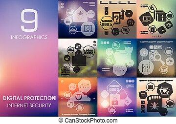 infographic, protezione, unfocused, fondo, digitale