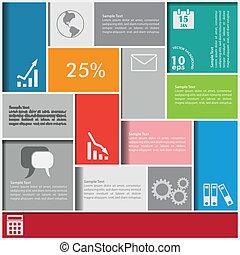 infographic, quadrados, fundo