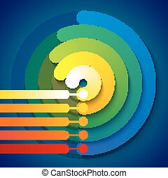 Infographic rainbow 3d circle shapes 5 options chart on dark blue background