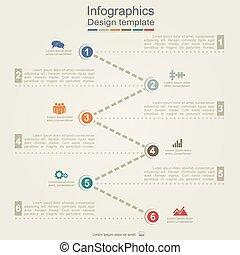 infographic, relatório, modelo, com, setas, e, icons.,...