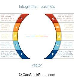 infographic, remsor, och, halvcirkel, 5