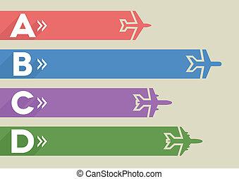 infographic, repülőgépek, sablon
