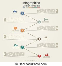 Infographic report template with arrows and icons. Vector...