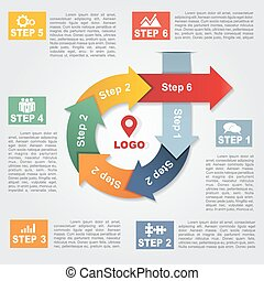 Infographic report template with arrows and icons. Vector