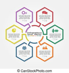 Infographic report template with lines and icons. Vector ...
