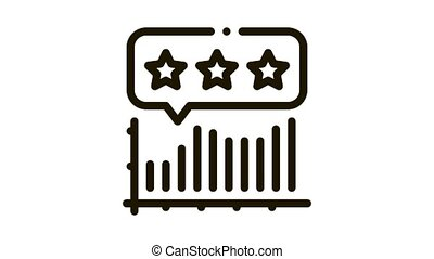 infographic review Icon Animation. black infographic review animated icon on white background